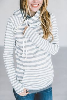 *Exclusive Double Hooded Sweatshirt - Grey on Grey  //  stripe hoodie, doublehood, double hoodie, mindy mae's, hoodie, sweatshirt, shop, style, outfit, fall outfit, fashion