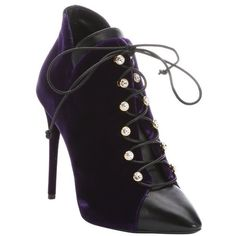 Giuseppe Zanotti Purple leather and velvet 'Olinda 110' lace-up ankle... ($563) ❤ liked on Polyvore featuring shoes, boots, ankle booties, lace up boots, high heel ankle booties, stiletto booties, leather ankle booties and purple boots