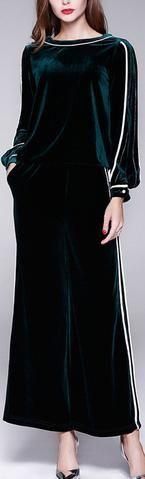 Velvet  Long Sleeve Top & Wide-Leg Pant Set