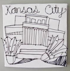 Wall Art-Wire Sculpture-Architecture-Kansas City Nelson-Atkins Museum-Mixed Media Original OOAK