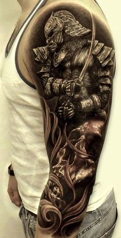 Unique awesome amazing hyper realism realistic 3d tattoo tattoos body art cool Bio-mechanical Biomechanical greyscale beautiful male guy full arm back chest sleeve warrior