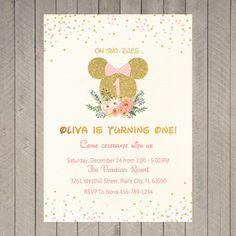 Invitar a Minnie Mouse rosa oro brillo cumpleaños fiesta