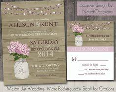 Mason Jar Wedding Invitation Suite - Rustic Hydrangeas - Country Wedding Invitations on Etsy, $35.00
