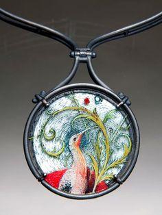 Diane Falkenhagen, In the Garden Again Neckpiece, 2006, Sterling, mixed media image on glass, mother-of-pearl