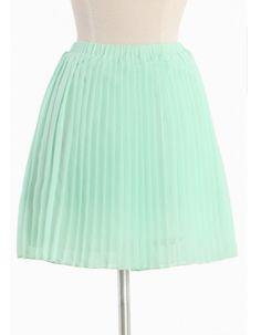 mint colored chiffon pleated skirt