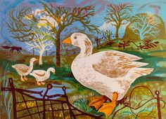"""Orchard Goose"" by Mark Hearld. Editioned at the Curwen Press (lithograph)"