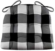 During our enjoy on our Buffalo Check Black and Grey Dining Chair Cushions! They feature a traditional plaid of black and grey checks about inch in size. -Perfect for rustic decor!