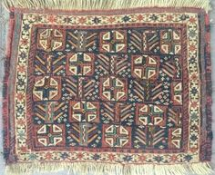Sumack khorjin bag face. Cm 38x50. Kurdish? Shahsavan? In any case antique, approx 1870/80, beautiful, all natural dyes and a very interesting design with crosses and anthropomorphic figurines.