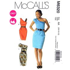 One Shoulder Dress Pattern McCalls 6320 Fitted Sheath Dress Belt Sewing Pattern Size 6 8 10 12