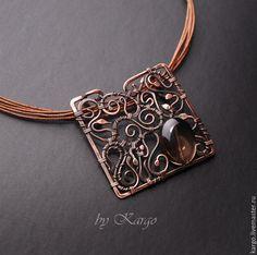 Купить Shallok - коричневый, медное колье, медь, раухтопаз, колье, подарок, wire wrap, квадрат