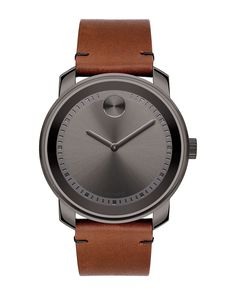 42mm Large Bold Watch with Leather Strap, Size: L, brown - Movado