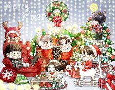 Got7 Fanart, Kpop Fanart, Merry Christmas 2017, Christmas Art, Youngjae, Kim Yugyeom, Jinyoung, Christmas Illustration, Illustration Art