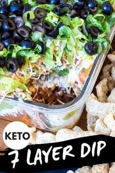 This 7 Layer Taco Dip is made low-carb and keto-friendly by swapping out the traditional refried bean layer for taco meat! This 7 Layer Taco Dip is made low-carb and keto-friendly by swapping out the traditional refried bean layer for taco meat! Low Carb Tacos, Low Carb Diet, 7 Layer Taco Dip, Layered Taco Dip, Layer Dip, Popular Appetizers, Low Carb Appetizers, Soup Appetizers, Healthy Low Carb Recipes