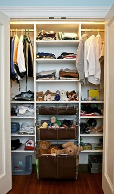 organize closet; add rod at bottom so Baby can hang his own clothes