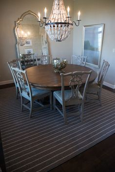 Dark Gray Striped Dining Room Area Rug – Area Rugs on hardwood Engineered Hardwood, Hardwood Floors, Dining Room, Dining Table, New Carpet, Patterned Carpet, Fireplace Surrounds, Grey Stripes, Area Rugs