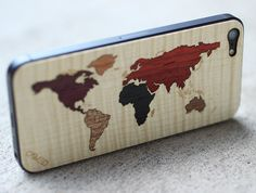 World Map Inlay iPhone 5 Real Wood Skin (Front & Back Cover) $24