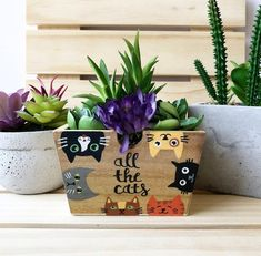 Cat Planter All the Cats Succulent Planter Cat Lover Gift Cat Decor Cute Planter Small Cute Gifts Gift for Her Mini Planter Cat Garden, Garden Boxes, Cat Flowers, Flower Pots, Cat Lover Gifts, Pet Gifts, Painted Pots, Hand Painted, Wood Bin