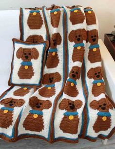 Puppy Love Afghan And Pillow By Maggie Weldon - Purchased Crochet Pattern - (maggiescrochet)