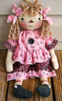 Primitive Raggedy Addie Doll PDF E Pattern   by appleorchards, $4.00