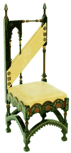 Carlo Bugatti (1856-1940), chair with asymmetrical back, circa 1900,  black-stained wood, light wood, copper and tin inlay,  parchment-wrapped seat and back,  105 x 37 x 35 cm