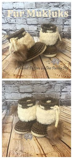 Fur Mukluks Crochet Pattern - Instant PDF Download - 3 sizes. Great baby shower gift! (cute diy, fun crochet patterns)