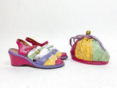 Fab Vintage 1940s Penaljo Colorblock Wedge Heel Sandal & | Etsy Low Wedge Sandals, Low Wedges, Cobbler, Vintage Shoes, Color Blocking, 1940s, Baby Shoes, Purses, Leather