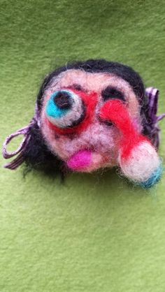 Zombie eye popper needle felted just for fun