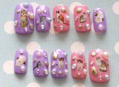 Kawaii nails, deco nails, 3D nails, pink, cats, pastel, lolita, fairy kei, Japanese nail art