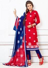 Daily Wear Red Cotton Resham Work Salwar Kameez