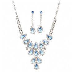Loralee's Fancy Light Blue Teardrop Rhinestone Necklace Set ($29) ❤ liked on Polyvore