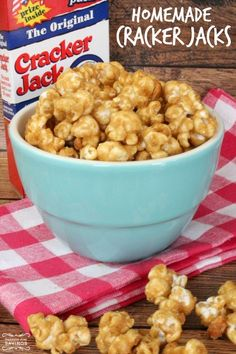 Be sure to check out this Homemade Cracker Jacks Recipe for a delicious snack to share with your friends and family! Try this Cracker Jack Recipe Now! Yummy Snacks, Delicious Desserts, Snack Recipes, Dessert Recipes, Cooking Recipes, Yummy Food, Corn Recipes, Fruit Recipes, Candy Recipes