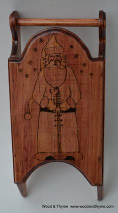 Santa Claus Wood Burned Sleigh