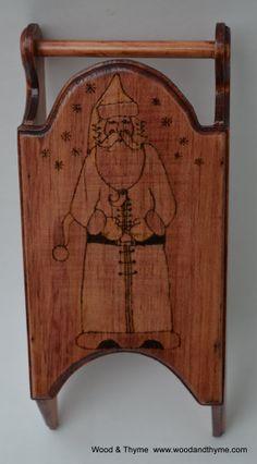 Santa Claus Wood Burned Sleigh