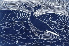 Blue Summer Whale. Linocut print. N Chesterman More