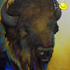 Beautifully rendered and textured #contemporary #painting of a buffalo.