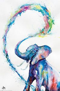 ELEPHANT - WATERCOLOR ART POSTER / PRINT (MARC ALLANTE) (SIZE: 24  x 36 ) | eBay #watercolorarts