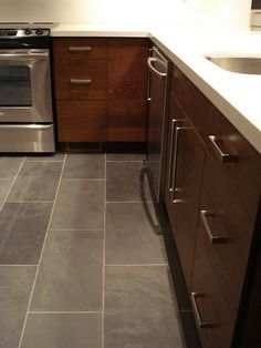 Dark Tile Flooring Custom Slate Look Kitchen Tile Floor  For The Home  Pinterest  Tile Design Decoration