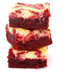 #RECIPE Red Velvet Cheesecake Brownies MBSIB Breads Desserts ❤ liked on Polyvore featuring food, fillers, food and drink and food & drinks