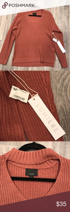 Lumiere check choker long sleeve sweater Brand new with tags choker vneck sweater dusty rose colored Lumiere Sweaters V-Necks
