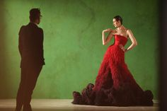 GREAT Campaign Nicholas Oakwell Couture Erin O'Connor Red Dress (Vogue.co.uk)