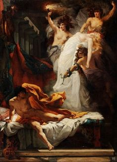 Orestes and the Furies. Jacques Francois Ferdinand Lairesse. French. 1850-1929. oil on canvas. http://hadrian6.tumblr.com