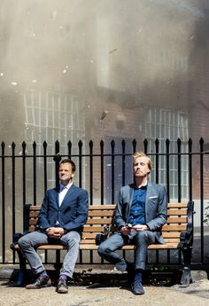 """The Holmes brothers: Sherlock and Mycroft (Jonny Lee Miller and Rhys Ifans) on the 2013 season premier of """"Elementary"""" (CBS) Elementary Tv Show, Elementary My Dear Watson, Sherlock Holmes Elementary, Holmes Brothers, Johnny Lee, Jonny Lee Miller, Mycroft Holmes, Fall Tv, Movies"""