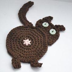 Brown peeking cat butt