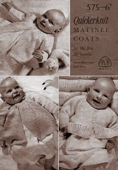Items similar to Pdf Vintage P & B 575 Baby FIRST Matinee Coats Knitting Pattern Booklet Patons and Baldwin War Time Ephemera heirloom on Etsy Baby Knitting Books, Knitting For Kids, Easy Knitting, Vintage Knitting, Baby Girl Patterns, Baby Knitting Patterns, Crochet Patterns, Baby Knits, Knitted Baby