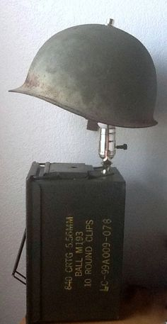 Military vintage helmet/ amo box lamp with secret compartment on Etsy, $125.00