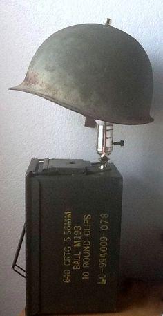 Military vintage helmet/ amo box lamp with secret compartment on Etsy, $125.00