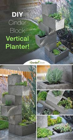How to make a cinder block vertical planter