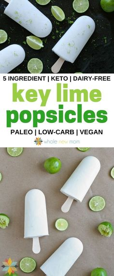 Key Lime Coconut Milk Popsicles (dairy free with vegan option) These Key Lime Popsicles are a great healthy treat – they're great for almost any special diet! – vegan, dairy-free, paleo, AIP, keto via Adrienne {Whole New Mom} Key Lime Cookies, Junk Food, Food Food, Key Lime Pie Rezept, Coconut Milk Popsicles, Coconut Popsicles, Healthy Popsicles, Dessert Light, Keto Vegan