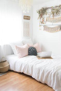 My lovely white organic/natural vintage inspired room.