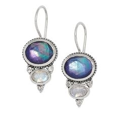 Himalayan Gems Sterling Silver Triplet Gemstone Earrings